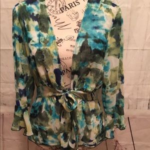 Sere Nade Green & Blue Floral Tie Blouse